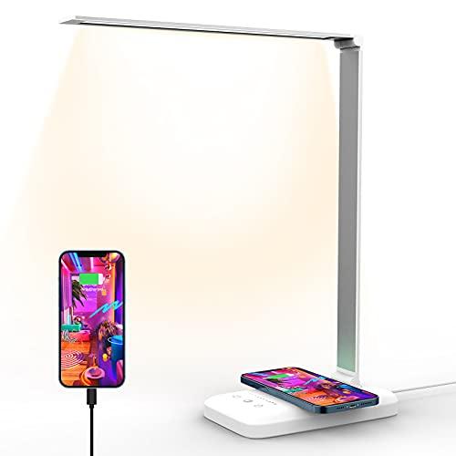 LED Lampada Scrivania, Ufficio Lampade Da Scrivania, Funzione Di ricarica Wireless Lampada Da Scrivania, Lampada Da Scrivania a Led Porta Di Ricarica USB Per Smartphone