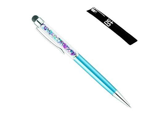 Penna a sfera 2 in 1 di qualità con cristalli Swarovski ed estremità posteriore gommata per touchscreen 2 ricariche incluse Azzurro arcobaleno.