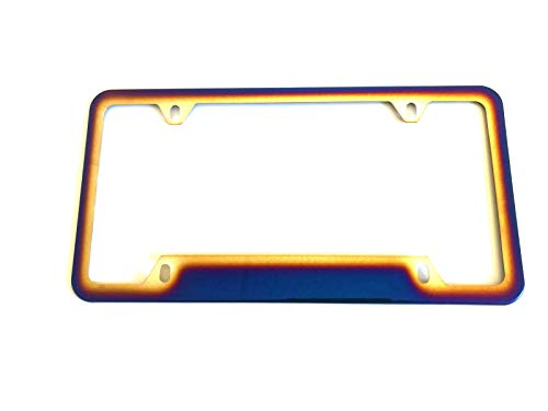Tonet Stainless Steel Neo Polished Blue Burnt Colorful Car Auto License Plate Tag Frame Cover Holder W/Screws Caps Gift (1X 4Holes)