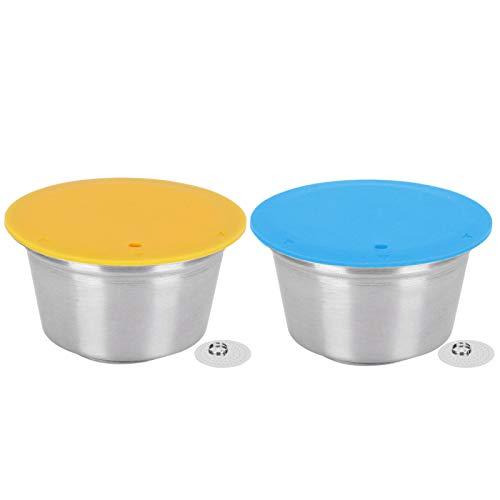 zhoul Coffee Capsule Pods Taza de filtro de café recargable, cápsula de café de acero inoxidable, taza de filtro recargable reutilizable para cafetera Dolce Gusto(Amarillo)