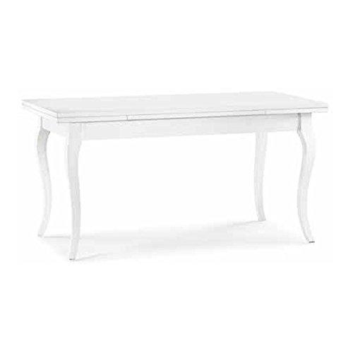 Table Extensible comportant 2 rallonges de 40 cm, Style Classique, en Bois Massif et MDF avec Finition Blanc Mat - Dim. 160 x 85 x 78