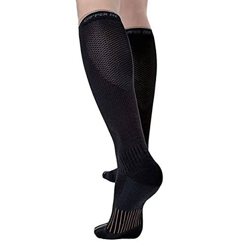 Copper Fit Unisex-Adult's 2.0 Easy-Off Knee High Compression Socks, black, Small/Medium