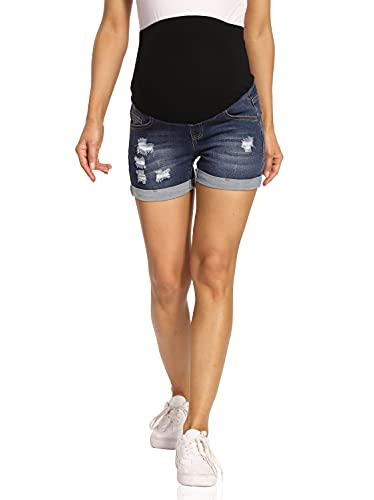 Kegiani Pantalones cortos de premamá para mujer, pantalones vaqueros cortos de maternidad, pantalones cortos con banda para el vientre para verano 05#azul oscuro M