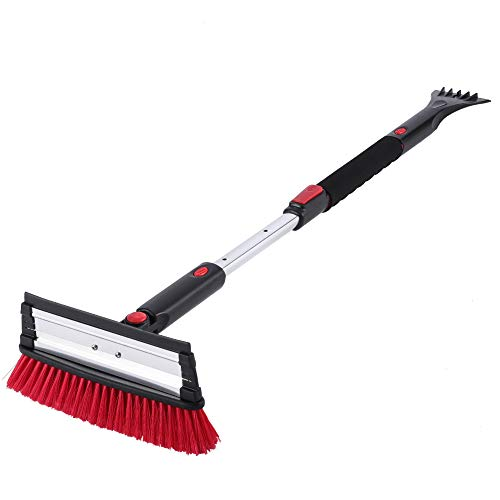 SUPERJARE Telescoping Snow Brush with Integrated Ice Scraper & Squeegee Head, Extendable Snow Broom with Foam Grip Suitable for Small Car, Red & Black