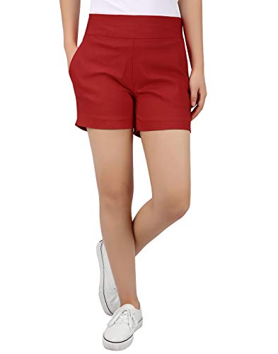 HDE Chino Shorts for Women 4' Inseam Elastic High Waisted Casual Summer Shorts Red