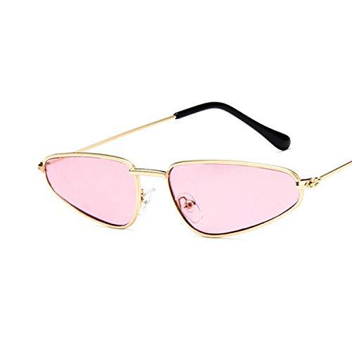 N/A Gafas de Sol de Ojo de Gato pequeñas Vintage para Mujer, diseñador de Marca de Lujo, Espejo de Gota de Cristal de Sol Retro con Forma de Metal Vintage Regalo de cumpleaños