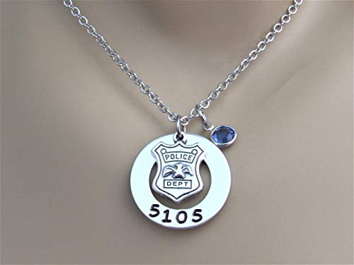 Police Wife, Police Mom, Police Daughter Hand Stamped Necklace with Custom Badge Number & Blue...
