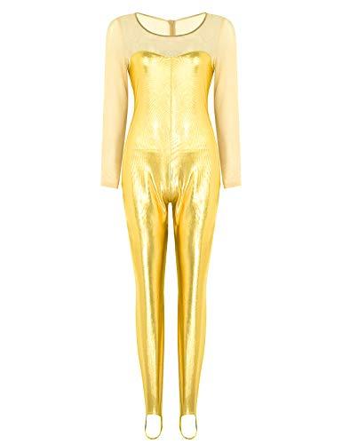 CHICTRY Damen Jumpsuit Metallic Bodysuit Overall Mesh-Spleiß Ganzkörperanzug Gymnastikanzug mit Fußbügel Halloween Party Kostüm Gold X-Small