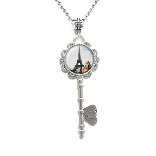 Collar con llave de torre, colgante de torre, joyería de la torre, collar de la llave de París, colgante de París, colgante de la torre, collar de la llave del encanto # 141