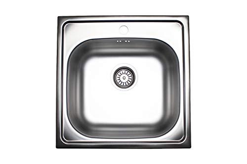 Edelstahl Einbauspüle Küchen Spüle Spülbecken Küchenspüle 50 x 50 cm + zubehör Set (50x50cm mit Loch für Armatur)