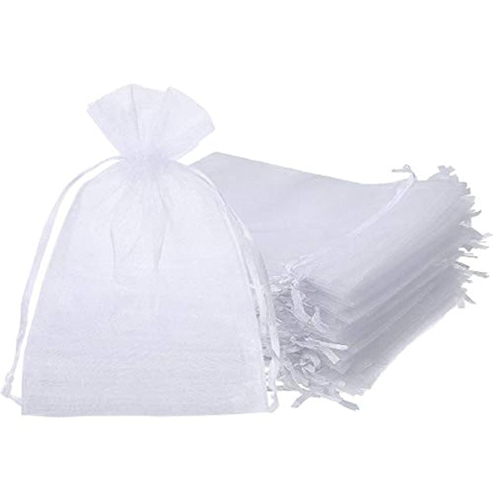 ONWON 100 Pieces Organza Drawstring Gift Bags 4 x 6 Inch Party Wedding Travel Favor Jewelry Pouches Candy Bags Baby Shower, White