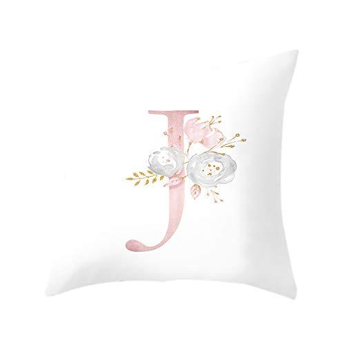 HLPIGF Carta de 18 Pulgadas Funda de Almohada de ImpresióN Floral Rosa Funda de CojíN de Tiro Funda de Almohada Sofá DecoracióN para el Hogar Letra J