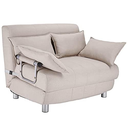Poltrona Divano letto elegante per soggiorno, da 1 piazza o da 1 piazza e 1/2, disponibile in vari colori (Crema, 1 piazza e 1/2)