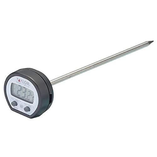 Taylor Pro Termómetro Digital de Cocina, Sensor de Cocción Multifuncional con Registro de Alta Temperatura y Lectura de Pantalla Instantánea, Acero Inoxidable/Negro