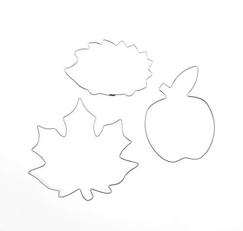 Formina Markenlos 3er Set Blatt Ahorn 10,7 cm Apfel Igel Edelstahl Ausstecher Ausstechform Keksausstecher