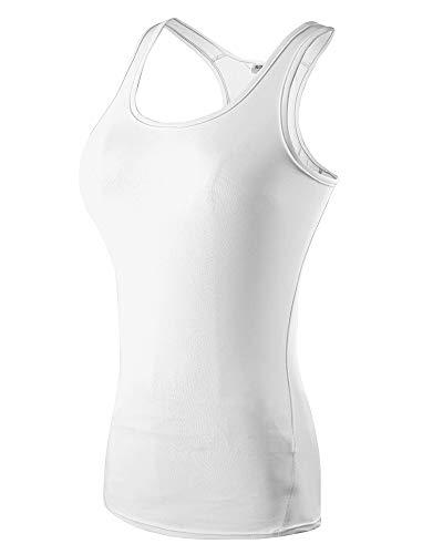 CHEN Camiseta Deportiva Mujer Sin Mangas Secado Rápido Fitness Sport Tank Tops Blanco S