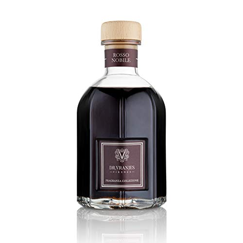 Dr. Vranjes - Rosso Nobile 250 ml Diffuser + Doppelback schwarze Stäbchen (3 Stück) - Luxus-Raumduft, Made in Italy, fruchtige Hauptnoten: Orange, Erdbeere und rote Beeren, Birke
