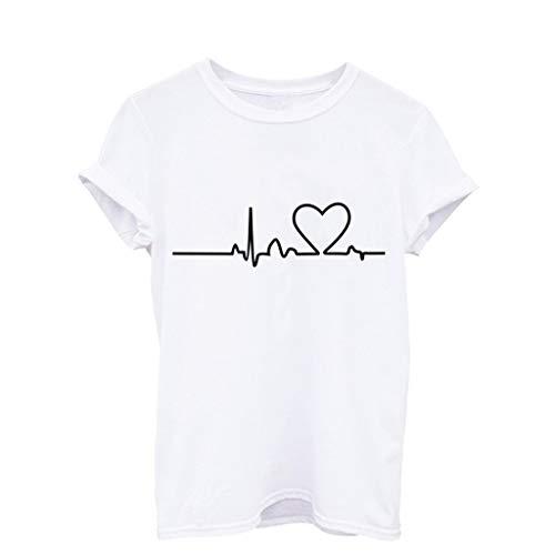 Longra blouse dames T-shirt voor meisjes, grote maat, bedrukt, korte mouwen, ronde hals, blouse, tunica, bovenstuk, voor dames, meisjes, zomer