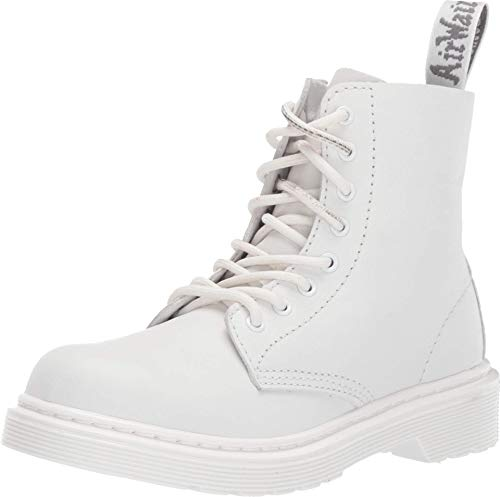Dr. Martens Kid's Collection 1460 Pascal Mono Boot (Little Kid/Big Kid) Optical White Virginia 2 UK (US 3 Little Kid)