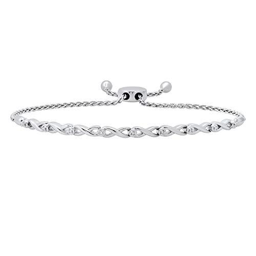 Dazzlingrock Collection Pulsera de eslabones infinitos para mujer con diamantes blancos redondos, plata de ley 925