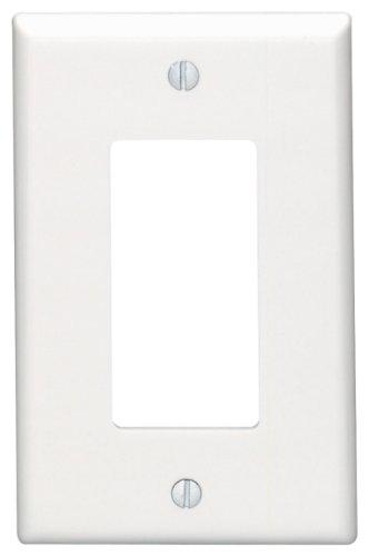 Leviton 80601-W 1-Gang Decora/GFCI Device Wallplate, Midway Size, Thermoset, Device Mount, White