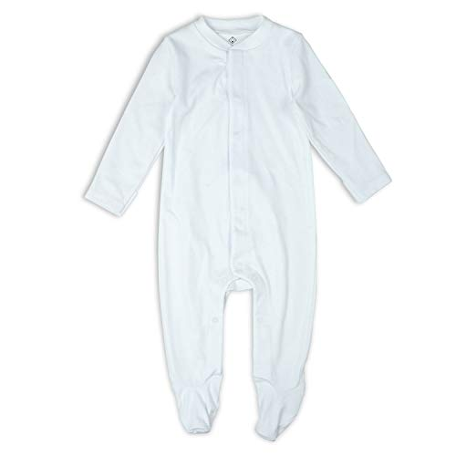 OPAWO Baby Footed Pajamas with Mittens - Infant Girls Boys Footie Onesies Sleeper (White, 0-3 Months)