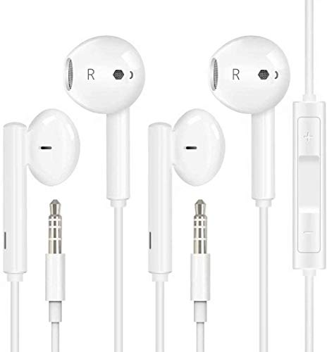 2 Pack Earbuds Headphones Earphones with 3.5mm Wired in Ear Plug Built-in Microphone & Volume Control Compatible with iPhone,iPad,iPod,PC,MP3/4,Android