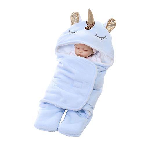 mama stadt Baby Swaddle Wrap Recién Nacido Unicornio Saco de Dormir Franela Suave Manta Cálida Mantas Envolventes con Capucha y Pies Separados, Azul 0-6 Meses