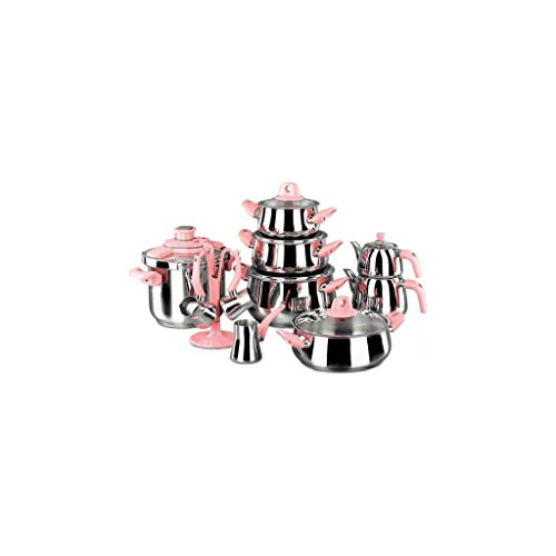 Korkmaz Batería de Cocina, Granito, Rosa, 1 cm, 18 Unidades