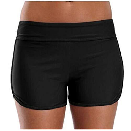 cinnamou Damen Sommer Lange Boxershorts Übergröße Hohe Taille Einfarbig Ausziehbar Schwimmen Hosen