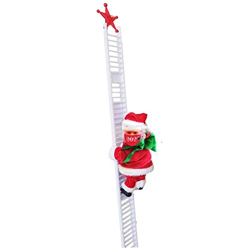 New 2020 Wearing Face Covers Climbing Santa Claus on Ladder,Creative Xmas Tree Hanging Pendant Ornaments Cute Kids Christmas Toy Doll