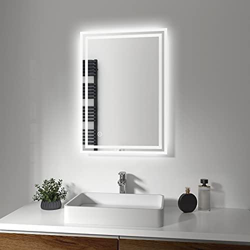 EMKE LED-Badspiegel, LED Spiegel mit Touchschalter und Heiz-Entnebelungsfunktion