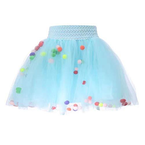 MRULIC Baby und Mädchen Tüllrock Tutu Set Mit Kinder Rock Ballettrock TüTü Unterkleid Petticoat Rockabilly Kurz Kleid Flusen Ball Prop Fotografie Kostüm(Hellblau,Höhe:80-100cm)