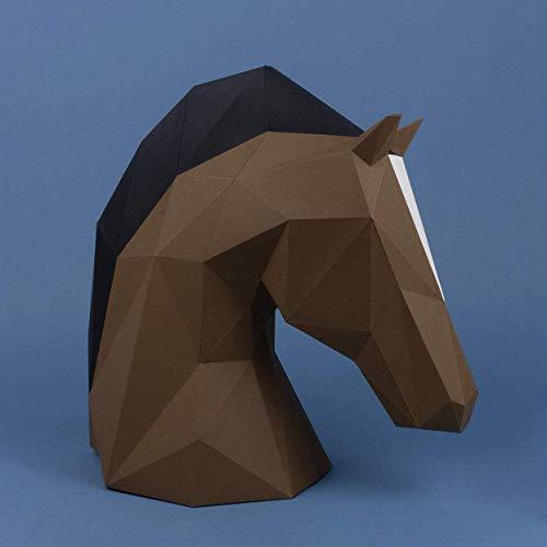 Cabeza de Caballo Papercraft kit,Yona DIY Kit de origami 3D para montar a mano, 3D Puzzle para la decoración de hogar,Trofeo de papel, Regalo de papel,Bricolaje en papel, Rompecabezas 3D