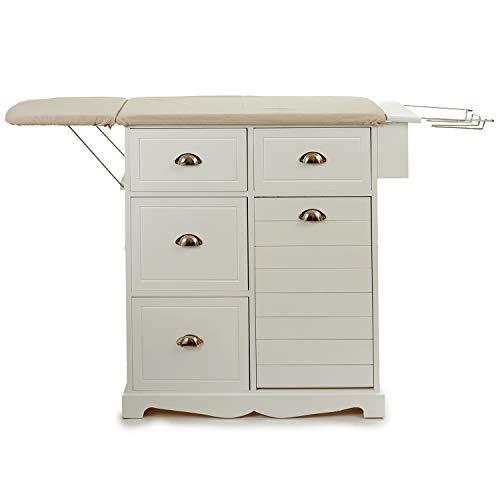 TU TENDENCIA ÚNICA Mueble de Madera con Tabla de Planchar en Color Blanco, Ahorra Espacio (Tabla Doble)