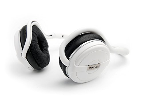 Kinivo BTH240 Bluetooth Headphones (White, On-Ear, Wireless Music, Hands-Free Calling, Built-in Mic, Foldable, Memory Form Earpads, Travel Bag)