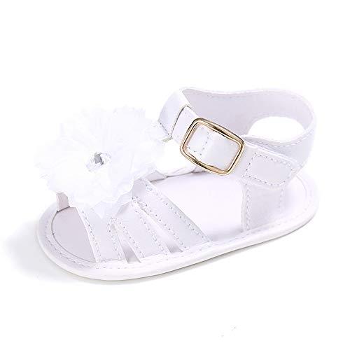 LACOFIA Sandali estive Bianco per Bambina Scarpe da Primi Passi per neonata con Fiore 3-6 Mesi