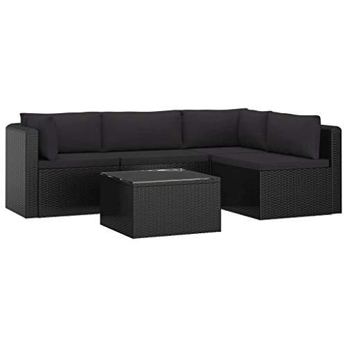 vidaXL Set Muebles de Jardín 5 Piezas y Cojines Exterior Conjunto de Sofás Aire Libre Mesa Terraza Patio Cafetería Ratán Sintético Negro