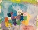 Art-Galerie Leinwandbild Paul Klee - Tischgesellschaft - 100 x 80cm - Premiumqualität - Aquarell, Expressionismus, Gesellschaft, Menschen, Gruppe, Tisch, Unterhaltu. - Made IN Germany SHOPde