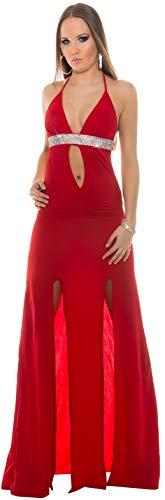 Firstclass Trendstore langes Kleid mit Strass und tollem Schlitz Gr. 34 36 38, Abendkleid bodenlang Beinschlitz ärmellos (K18328 rot 900874)