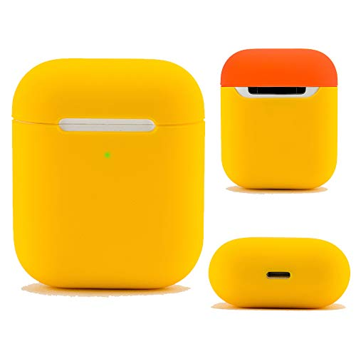 DamonLight Airpods Case Protective Silicone Cover and Skin for Apple Airpods Charging Case (Yellow)