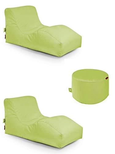 Outbag 3er Set Sitzsack 2 Wave + Rock l Lounge l Limegrün