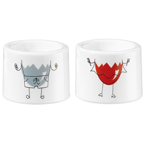 koziol Eierbecher i-Cup Mr and Mrs, 2er-Set, Kunststoff, weiß, 5,4 x 5,4 x 4,2 cm
