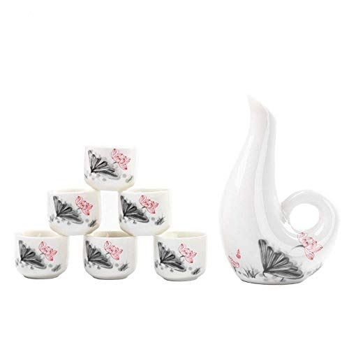 7-teiliges Set Sake, japanische Art Sake Cup Set, einzigartiges Elegant Design, for Kalt/Warm/Hot Sake/Shochu/Tee, for Familie und Freunde