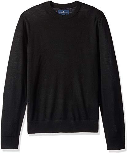 BUTTONED DOWN Men's Italian Merino Wool Lightweight Cashwool Crewneck Sweater, Black, Large