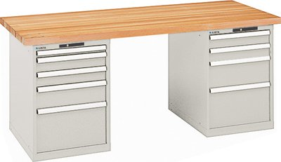 LISTA Werkbank, 2 Schubladenblöcke, links 5 Schubladen, rechts 4 Schubladen, Code-Lock, Multiplexpl. 40 mm , BxTxH 2000x750x840 mm, RAL 7035 lichtgrau