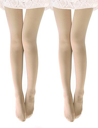 VERO MONTE 2 Pairs Womens Opaque Warm Fleece Lined Tights (Nude) 48571