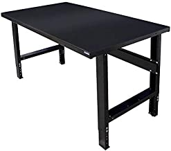 Borroughs Adjustable Height Work Bench with Painted Black Top, 28 x 72 inches