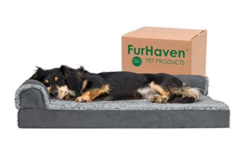 Furhaven Pet Dog Bed - Deluxe Orthopedic Two-Tone Plush and Suede L Shaped Chaise Lounge Living Room Corner Couch Pet Bed with Removable Cover for...