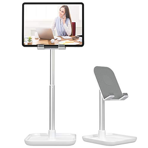 Cell Phone Stand,Licheers Height Angle Adjustable Phone Stand for Desk Tablet Stand Holder Compatible with iPad, iPhone, Android Smartphone, Nintendo Switch and More 4-11 inch Devices (White)